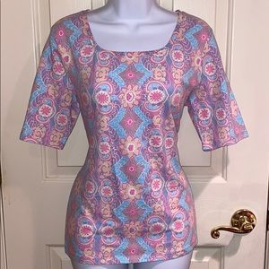 Talbots stretchy top tee pink lavender blue Medium